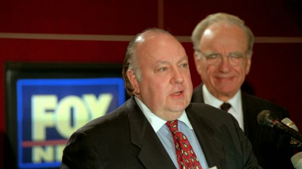 Ailes with Rupert Murdoch on 1996, when it was announced he would run the media mogul's new news channel.