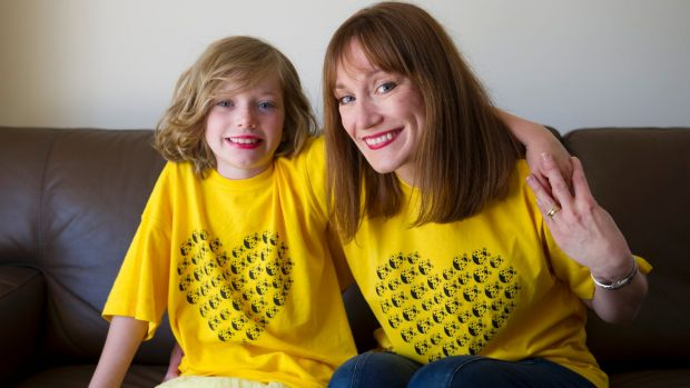 Brianna Simpson, 7, and mum Sharon Simpson, are part of family support group Yellow LadyBirds drawing attention to the ...