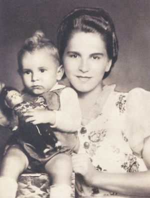 Liz's mother, Iren, with her baby son Bandi (Liz's brother Steve). Satoraljaujhely, Hungary, 1940.