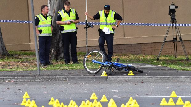 Police investigate a hit and run of a cyclist at Dynon Road, West Melbourne.