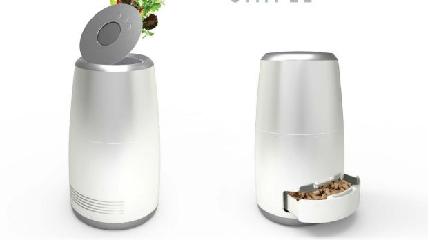 The Scraps Snacks appliance blends and dehydrates food waste, converting it into dry pellets for cats and dogs.