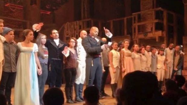In this image made from a video, actor Brandon Victor Dixon who plays Aaron Burr, the nation's third vice-president, in ...