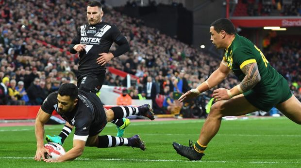 Jordan Kahu crosses the line to find a little joy for New Zealand in a game dominated by Australia.