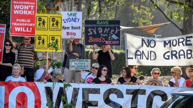 Residents in the inner west protest in Pioneers Memorial Park, on Norton Street, Leichhardt. About 427 properties have ...