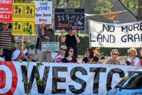 WestConnex opponents protesting in Leichhardt in 2016.