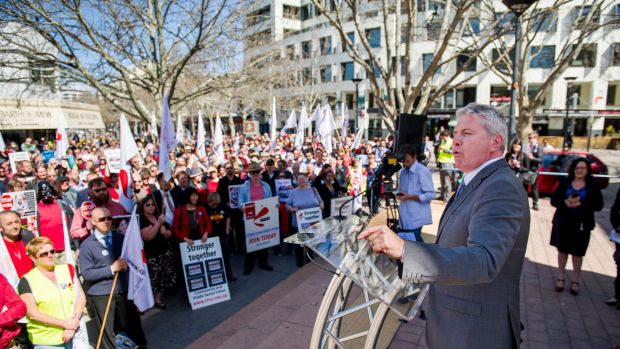Opposition spokesman for Workplace Relations Brendan O'Connor, MP, speaks as Canberra-based public sector workers ...