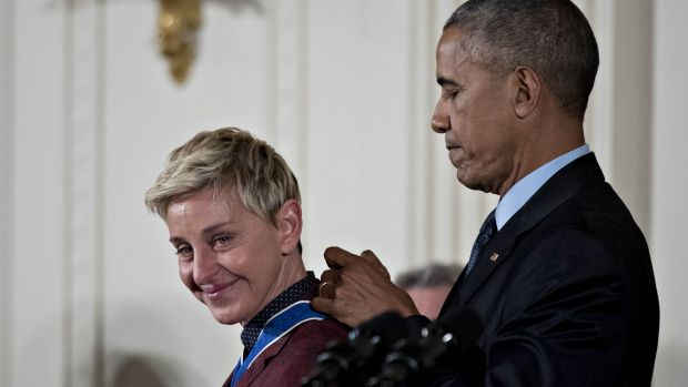 Pioneer: Ellen DeGeneres, comedian and television personality, receives the Presidential Medal of Freedom from US ...