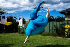 Ballerina Stephanie Kurlow, 14, practicing ballet in her backyard. Stephanie is crowd sourcing to raise money to become ...