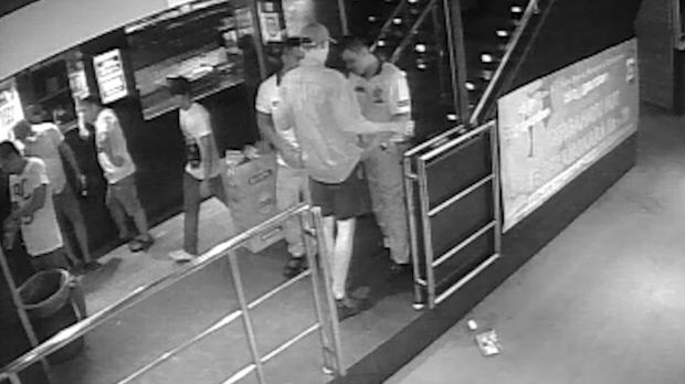 CCTV shows the Perth teenager being searched by security at Sky Garden nightclub.