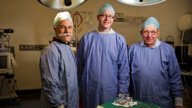 Professor Alan Mackay-Sim with Ben Goss and Don Fry at the Institute of Health and Biomedical Innovation at the ...