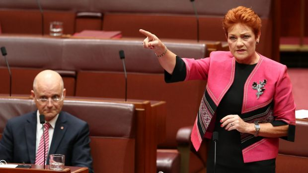 "Senator Pauline Hanson benefited from a surge in popularity but the United Nations has warned against ""normalising"" her ..."