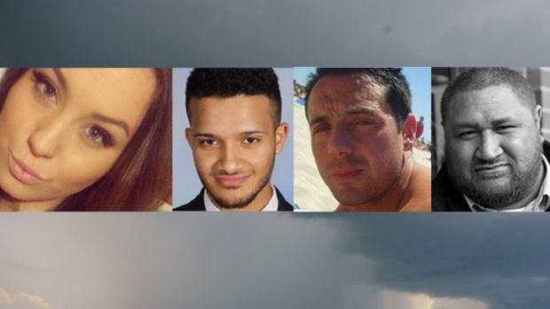 Four of the nine  people who died in last year's thunderstorm asthma epidemic: Hope Carnevali (left), Omar Moujalled, ...