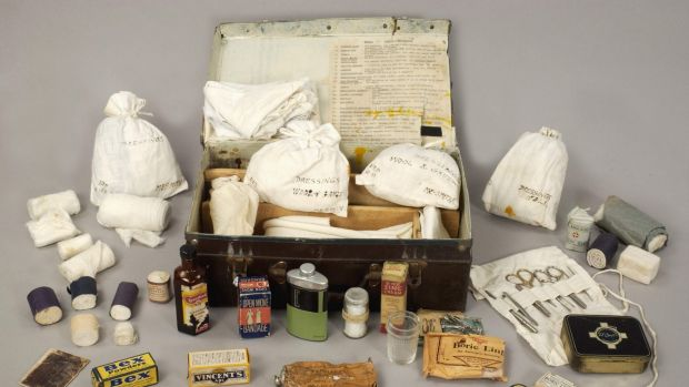 A World War II medical kit, including a bottle of acriflavine near the front left corner of the case.