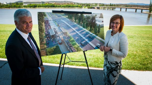 Minister for Transport Meegan Fitzharris, right, and light rail project director Scott Lyall open tenders for the Woden ...