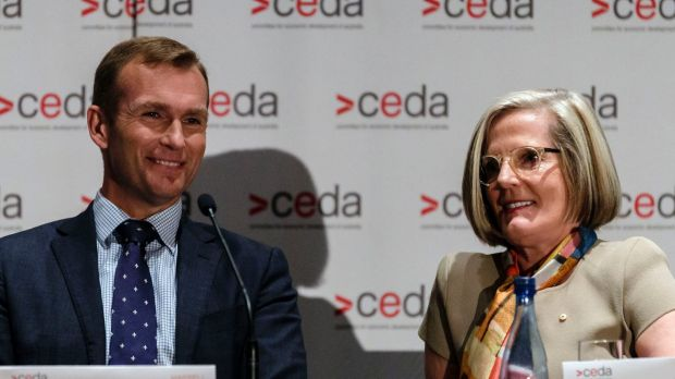 Planning Minister Rob Stokes and Greater Sydney Commission chief Lucy Turnbull at a conference on urban planning in November