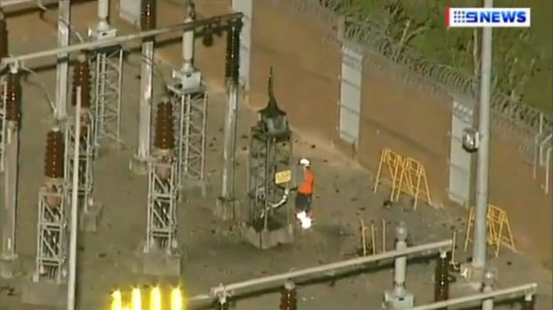 A worker inspects equipment at Meadowbank substation, where residents heard a loud bang.