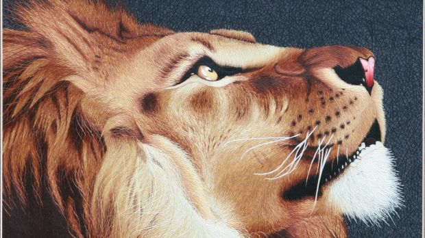 The Lion was made with many different thicknesses of thread.