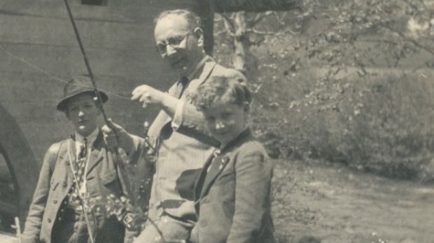 Walter, who was also called Igo, in happier pre-war days with his father Dr Johan Glaser (centre).