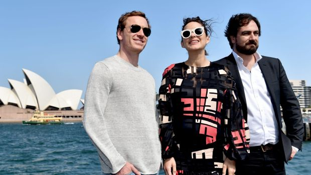 Stars Michael Fassbender and Marion Cotillard with director Justin Kurzel.