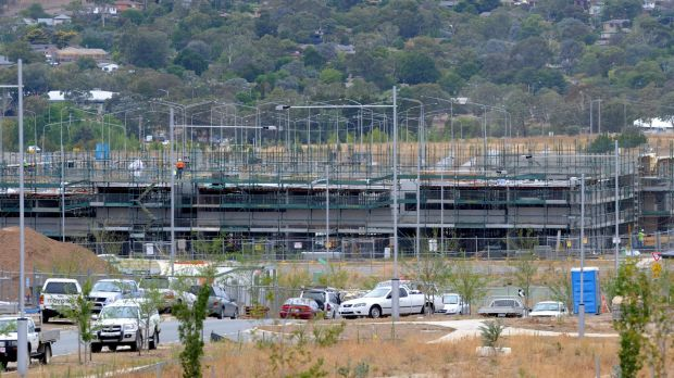 Apartments being built in Wright in 2014: Three-quarters of housing approvals in Canberra are for apartments and units.