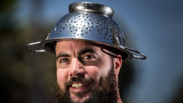 Not fusilli: the colander is the religious headgear of Pastafarianism.