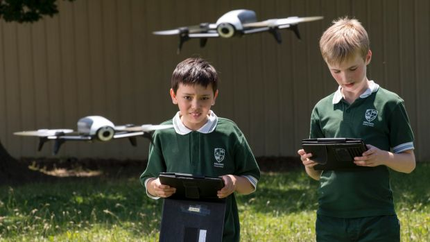 Mitcham Primary School students Jack and Aidan have been programming drones as part of the school's innovative STEM program.