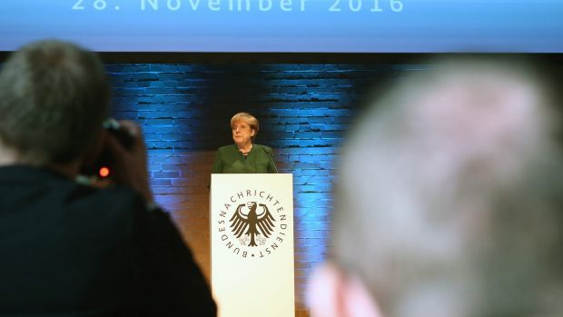 German Chancellor Angela Merkel attends the 60th anniversary of the BND, the German Federal Intelligence Service.