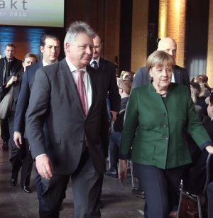 BERLIN, GERMANY - German Chancellor Angela Merkel with Dr Bruno Kahl, President of the BND.