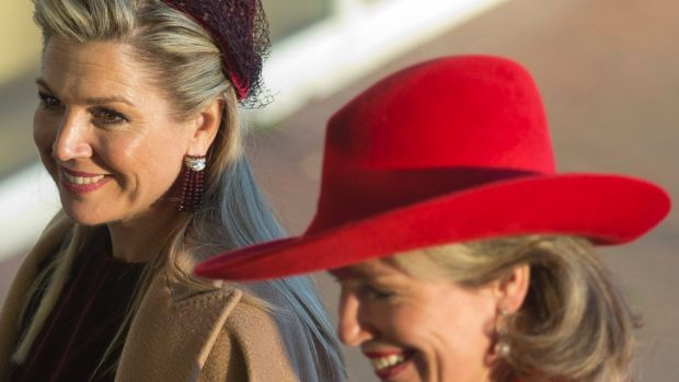 Netherlands' Queen Maxima, left, and Belgian Queen Mathilde arrive at the Cobra Museum in Amstelveen, near Amsterdam on ...