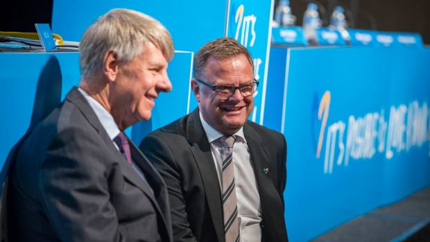 Bank of Queensland chair Roger Davis (left), with chief executive Jon Sutton, said while Brisbane was at the forefront ...