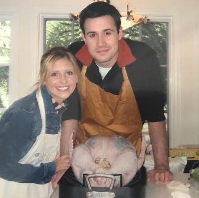 "Sarah Michelle Geller shared this picture with husband of 14 years Freddie Prinze Jr from their ""first Thanksgiving"" to ..."
