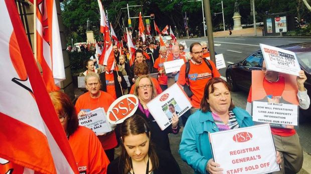 Staff at NSW's Land and Property Information protested the government's privatisation plans last June.