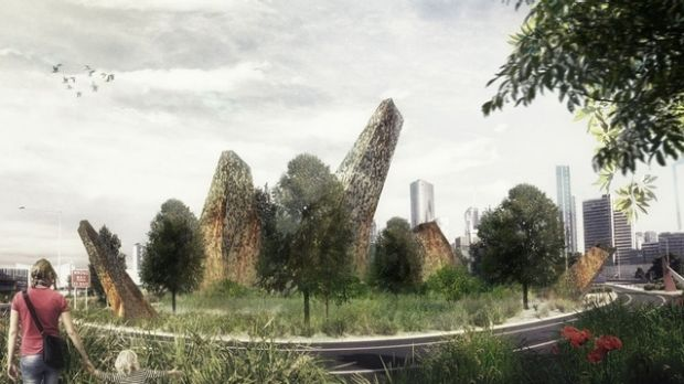 An artist's impression of what <i>Habitat-Filter</i> will look like years from now with grown vegetation.