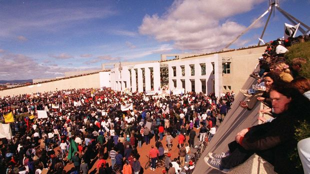 Parliament House during the 1996 riot.