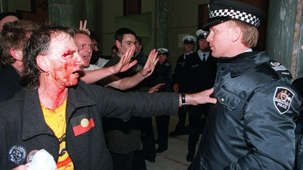 The 1996 Parliament House riot turns bloody.