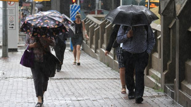 The Brisbane CBD copped a soaking when a storm hit south-east Queensland on Wednesday, November 30, 2016.