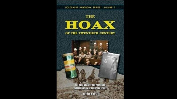 A Holocaust denial book for sale online.