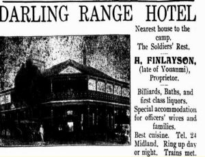 A newspaper clipping advertising the hotel to diggers.