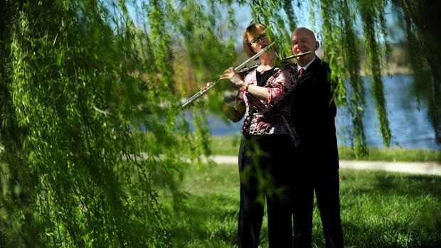 Virginia Taylor and Vernon Hill play by  Lake Burley Griffin in late 2011 to launch the Canberra Symphony Orchestra's ...