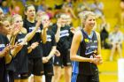 Carly Wilson celebrates her 350th game, Canberra Capitals vs Melbourne Boomers at Southern Cross Stadium. Photo Jay Cronan