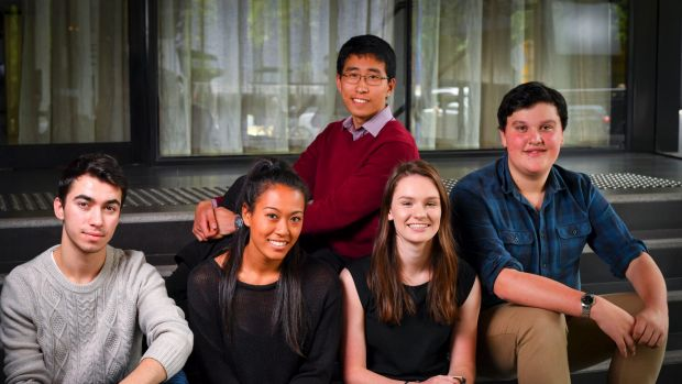 A group of last year's VCE students, one year on: Andrew Vassett, Rebecca Subbiah, Ashlyn Field, Matt Bunney, and ...
