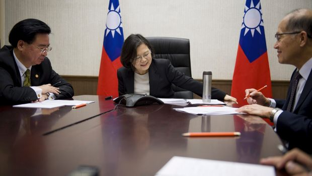 December 2016: Tsai Ing-wen (centre)  speaks on the phone with US President-elect Donald Trump, prompting an angry ...
