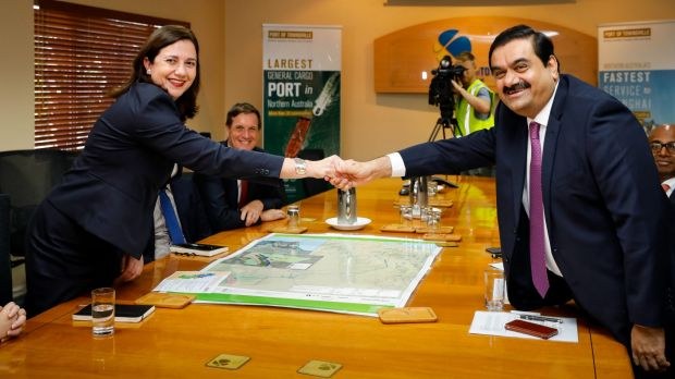 Queensland Premier Annastacia Palaszczuk meets Indian billionaire Gautam Adani last December.