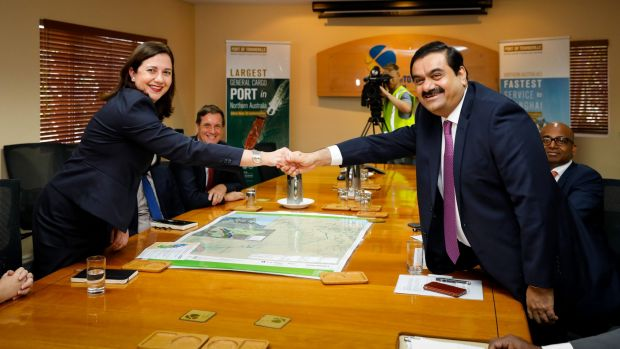 Queensland Premier Annastacia Palaszczuk, pictured with Gautam Adani, says no royalties deal with Adani has been reached.