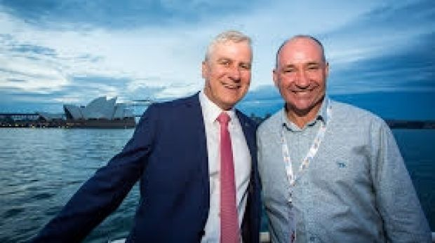 Stephen Drummett, AGDATA Australia with Minister for Small Business, Michael McCormack.