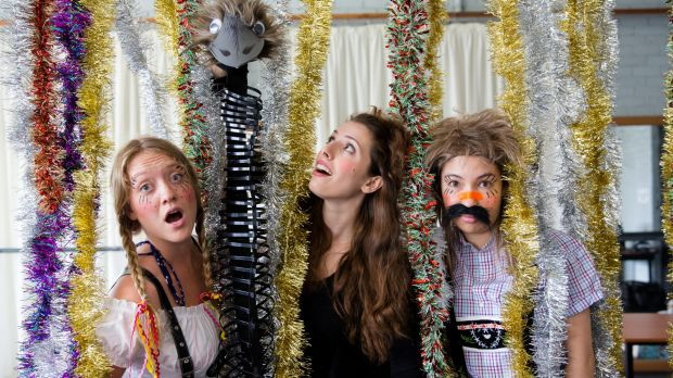 Alex Malone (left), Ildiko Susany and Eliza Reilly in the pantomime spirit.