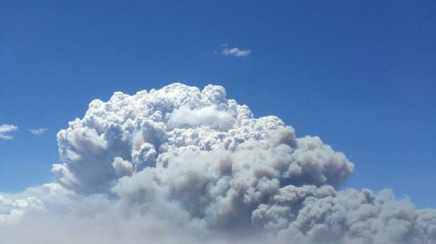 The smoke plume above the Eyre Highway fire.