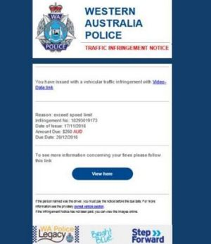 The email contains official WA Police branding.