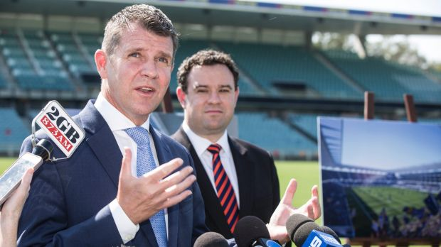 NSW Premier Mike Baird gives a press conference on the upgrade of Parramatta Stadium.