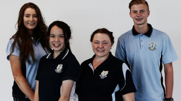 West Wallsend High science teacher Peggy Mangovski (second right) with students (from left) Sophie Sullivan, Jamie ...
